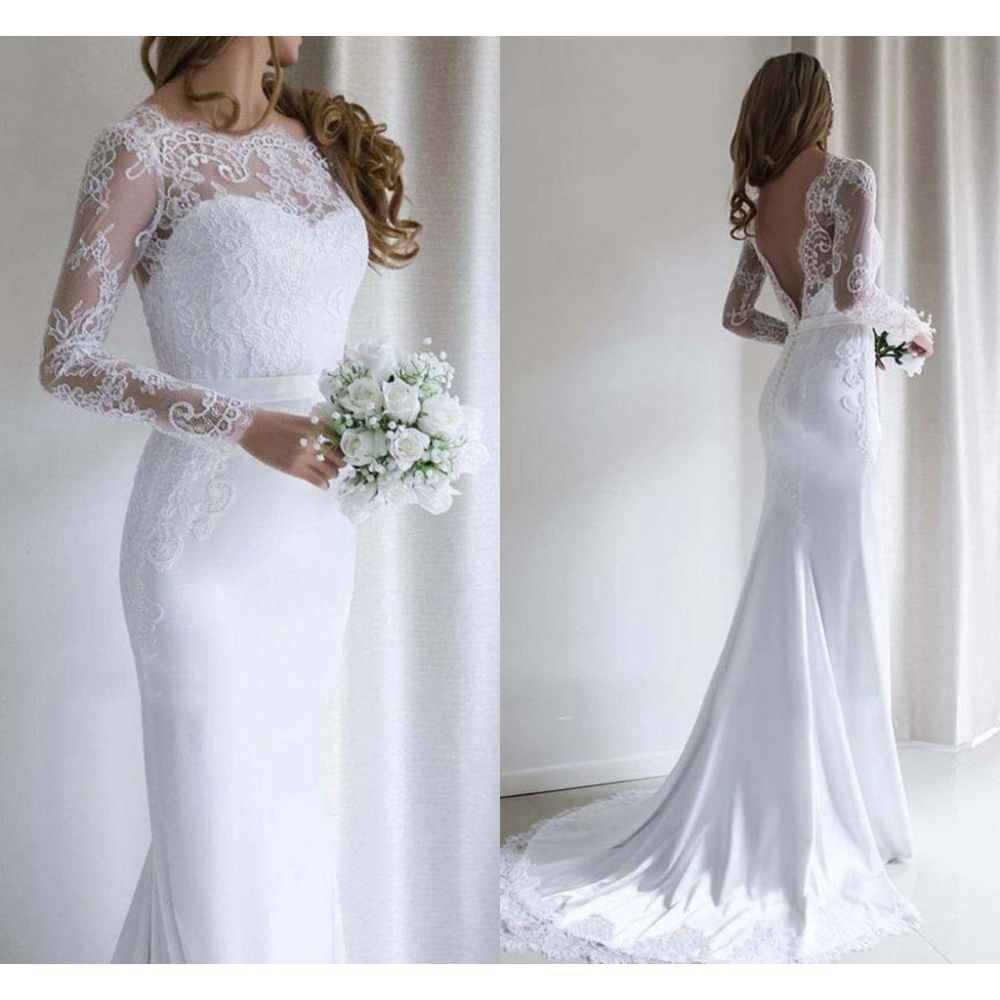 White Lace Mermaid Wedding Dress Long Sleeve Fishtail Wedding Gown Bride Dress Shopee Singapore
