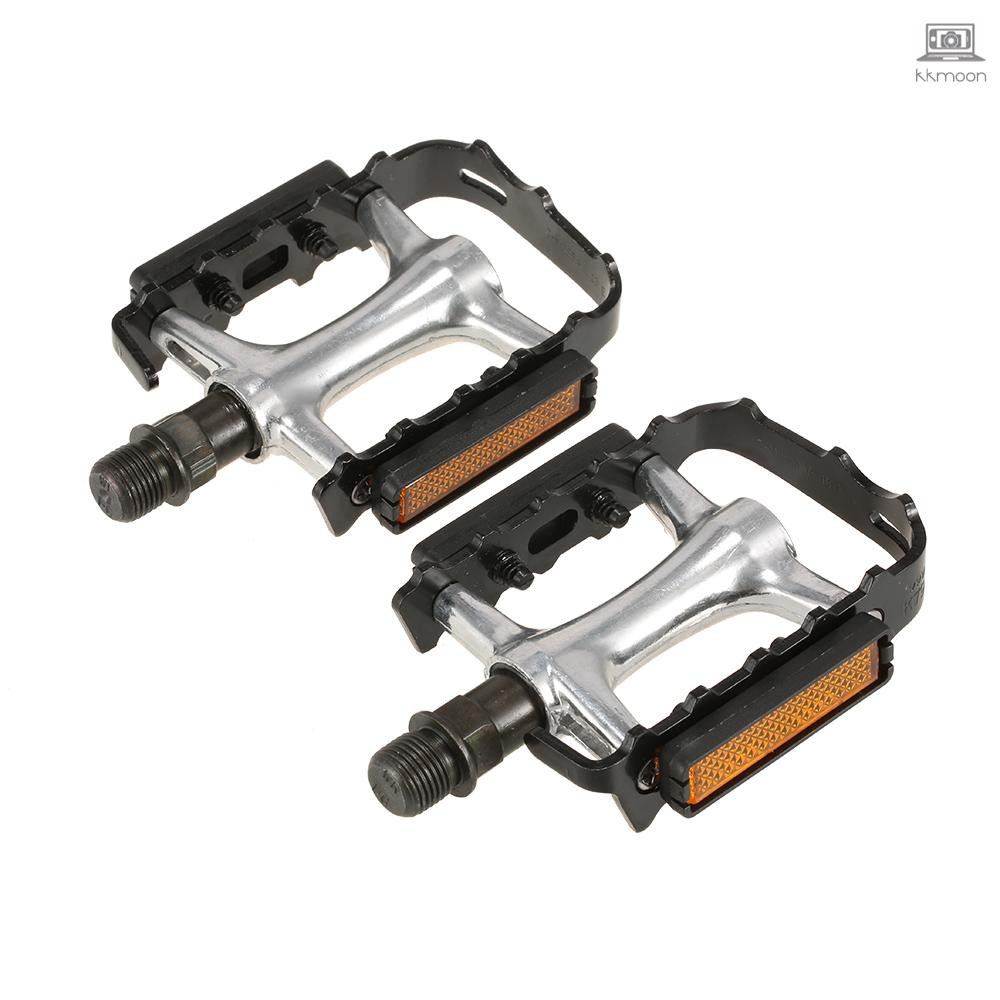 """New Alloy Cast Road Touring Non Slip Pedals With Reflector 9//16/"""""""
