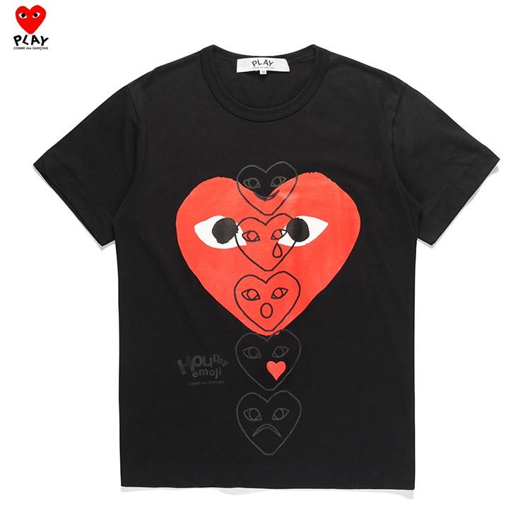 NEW Men women Garcons CDG Play double heart red heart Comme Des Short T-shirt