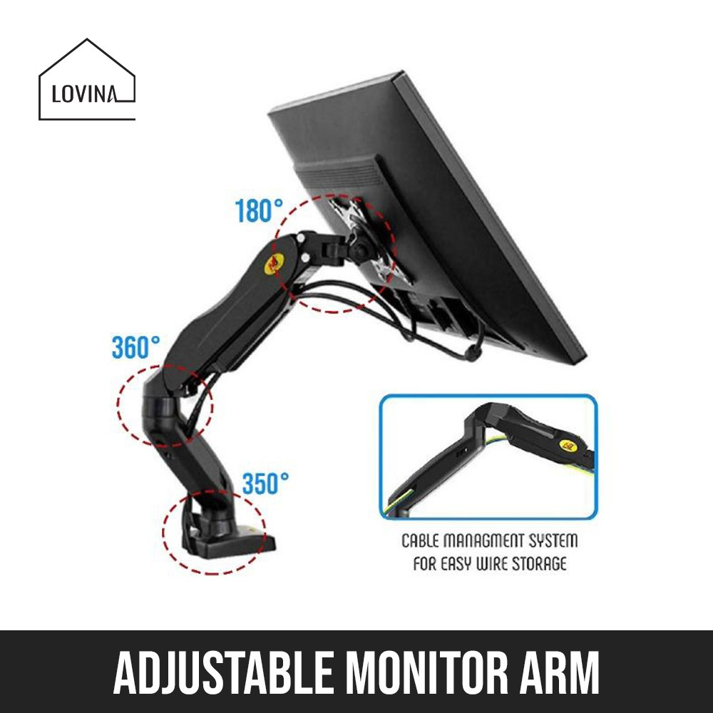HYDRAULIC MONITOR MOUNTING ARM NB F80 LCD SCREEN DESK TABLE VESA MOUNT  STAND 360 ADJUSTABLE ROTATION | Shopee Singapore