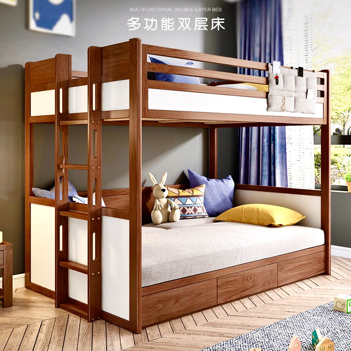 Youmanni Nordic Solid Wood Children Up And Down Bed Modern Simple Bunk Bed Bedroom Furniture Multi Purpose Double Bed Folding Sofa Wood Bed Frame High And Low Bed 1 2 Meters With Storage Cabinet Drawer