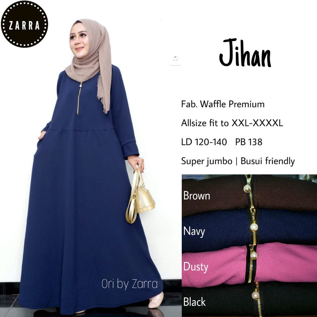 MAXI DRESS GAMIS JUMBO WAFFLE LD 10-10 LONG 10CM LATER RIGHT LEFT POCKET  LOVED MUSLIM CLOTHES