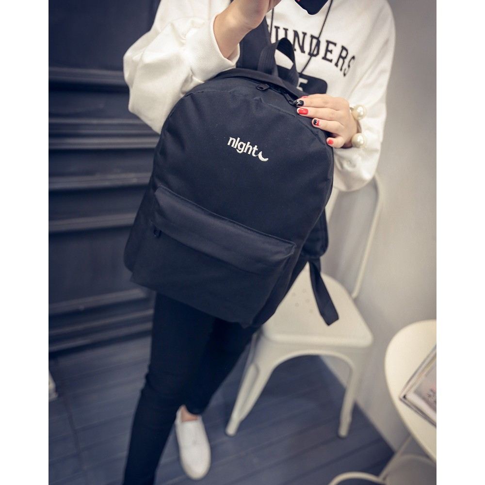 Korean Fashion Casual Backpack School Bag Embroidered