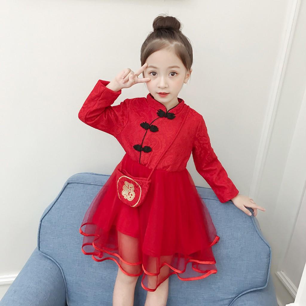 Children Kids Girl Tang Suit Cheongsam Embroidered Princess New Year DressCotton