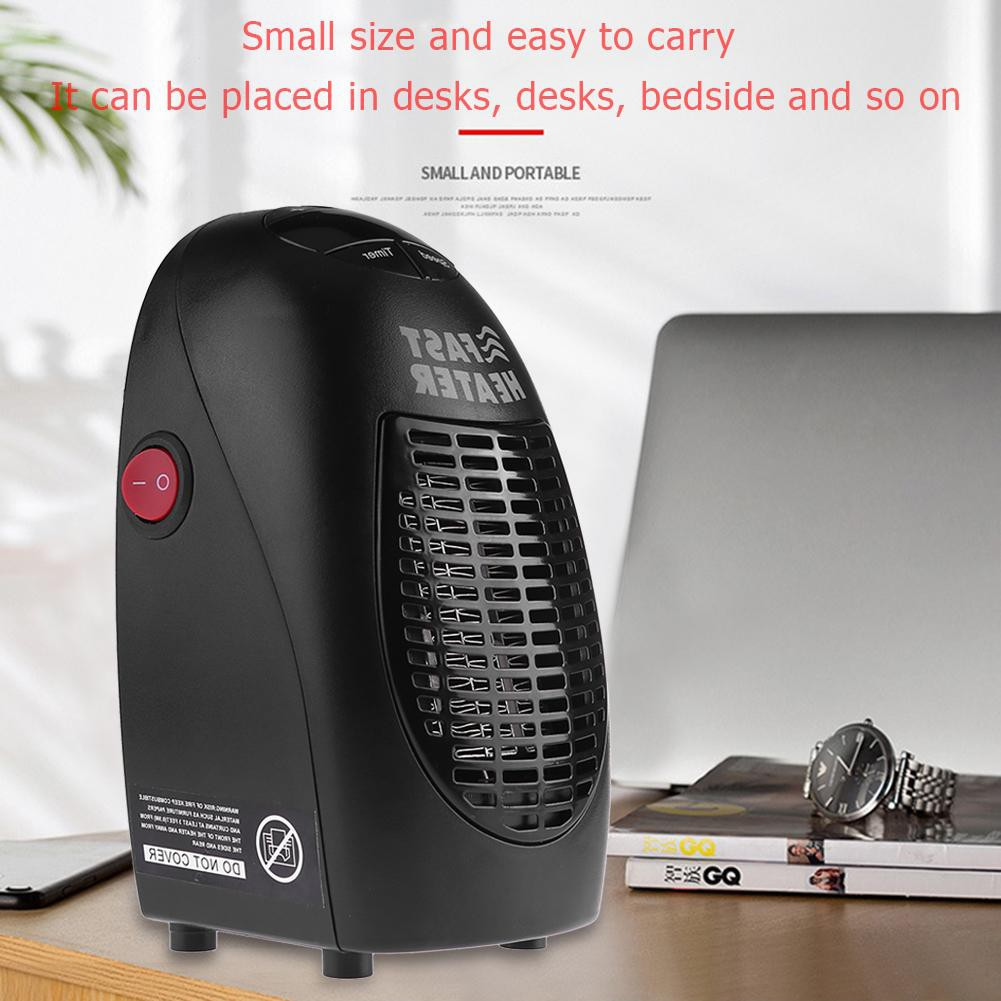 MagiDeal 900W Mini Plug-in Electric Wall-outlet Space Fan Heater-Black