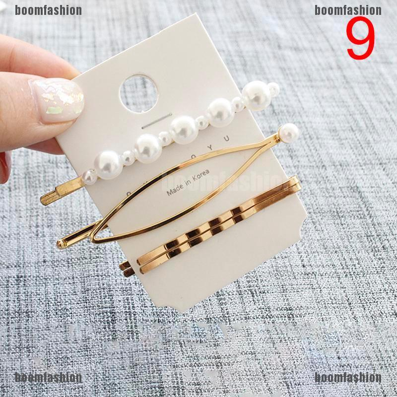 3Pcs Pearl Metal Hair Clip Hairband Comb Bobby Pin Barrette Hairpin Headdress 2J