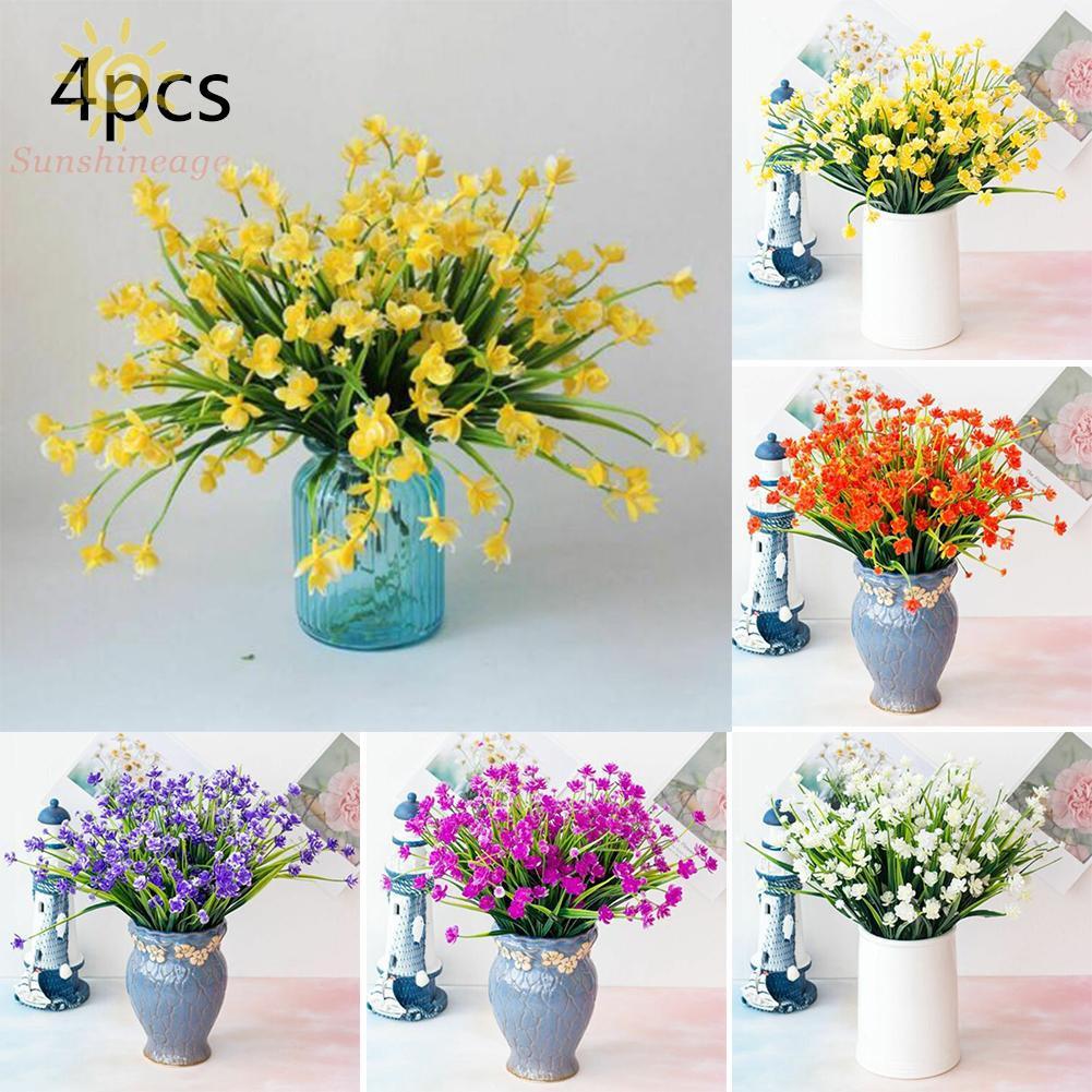 4 Bundles Artificial Flowers Fake Outdoor Plants Faux Plastic Home Garden Decor Shopee Singapore