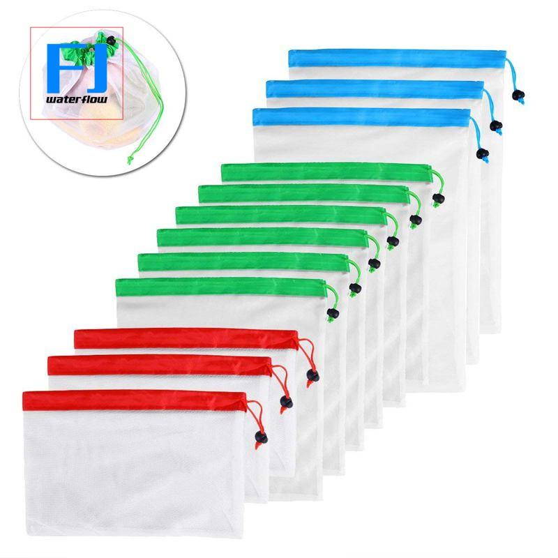 15//12X Reusable Produce Bags Black ROPE Mesh Vegetable Fruit Toys Storage Pouch
