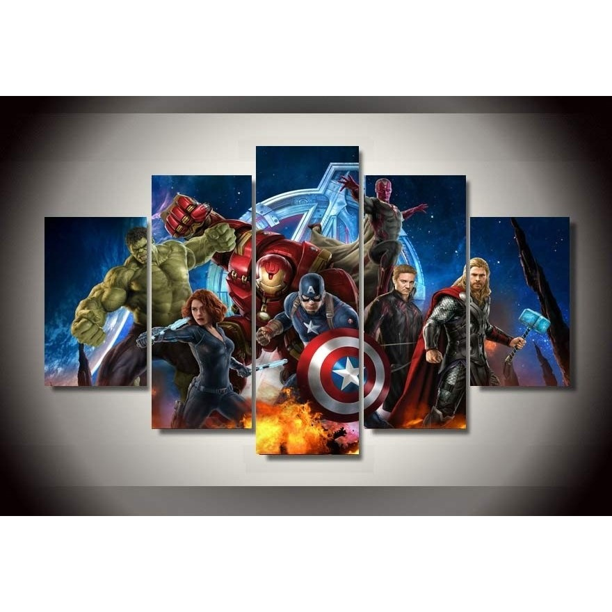 HD Printed Avengers Animation superhero 5 piece picture wall art room decor