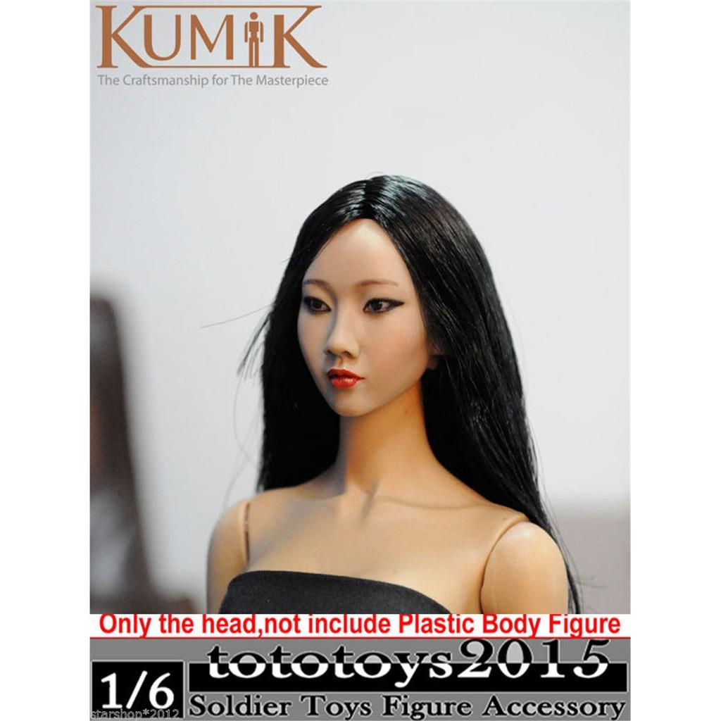 a0546735e9 KUMIK 1/6 Long Blond Hair Girl Head Sculpture Model Fit 12'' Phicen Body  Figure | Shopee Singapore