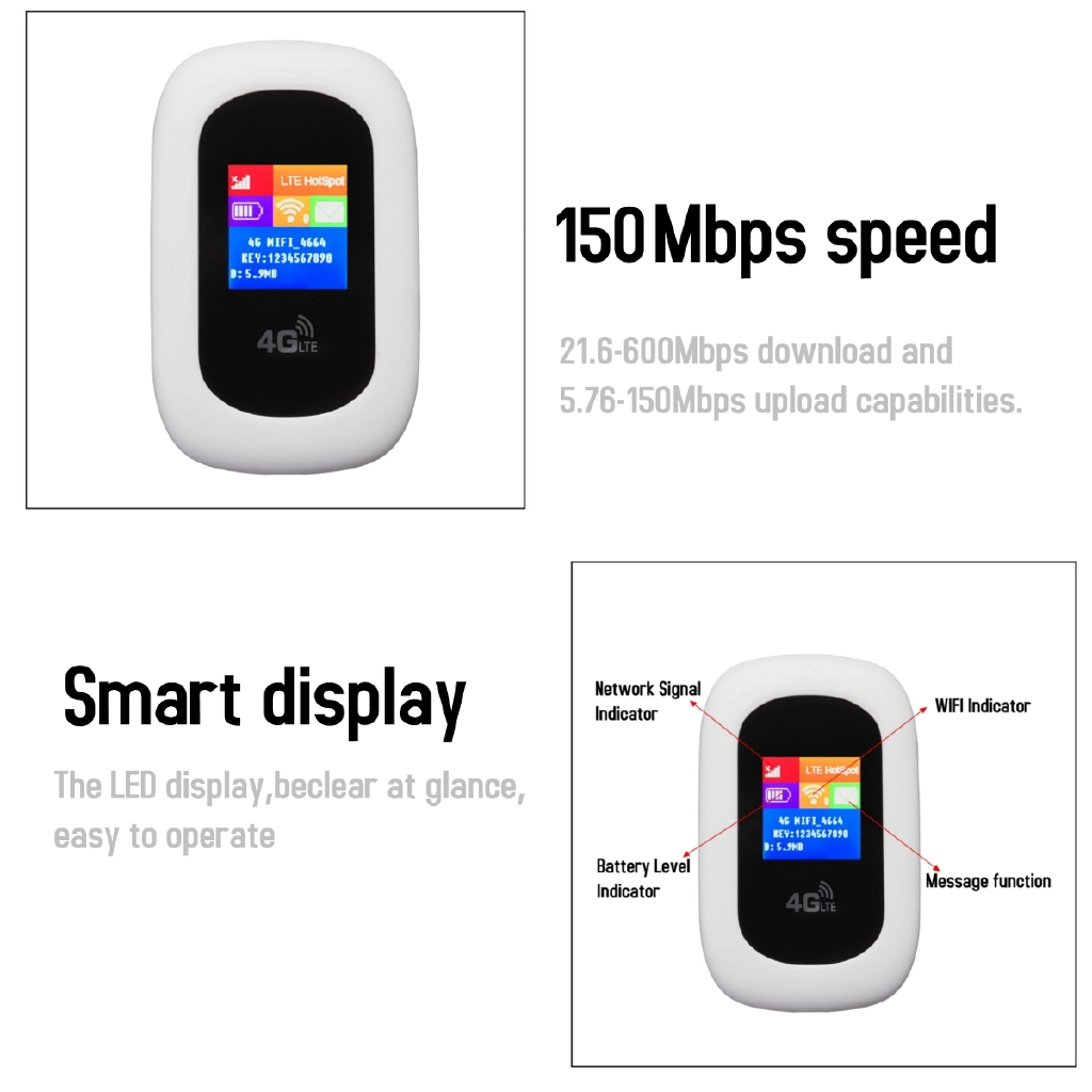 ♥【GOOD QUALITY】Portable 3G/4G WiFi Mobile Hotspot Router Broadband LED  150mbps