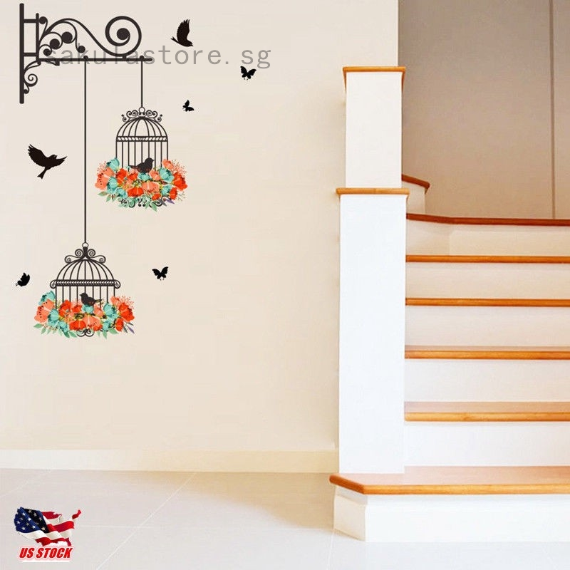Flower Bird Cage Removable Wall Sticker Living Room Decor Mural Art Home Decal Shopee Singapore