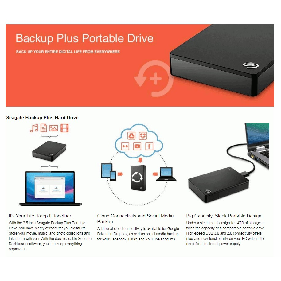 Seagate Backup Plus S Hub 4TB External Desktop Hard Drive