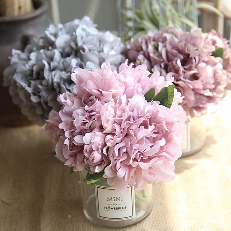 Real Touch Flowers Flower Bouquet Bunch Silk DIY Bride Hydrangea Table Office