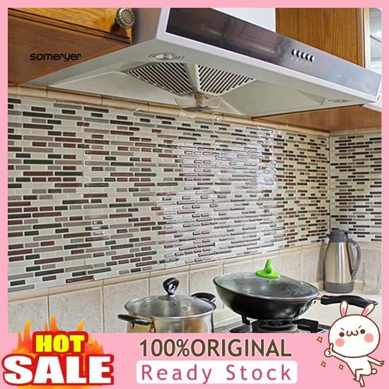 Som 4pcs Home Decor 3d Tile Pattern Kitchen Backsplash Stickers Mural Wall Decals Shopee Singapore