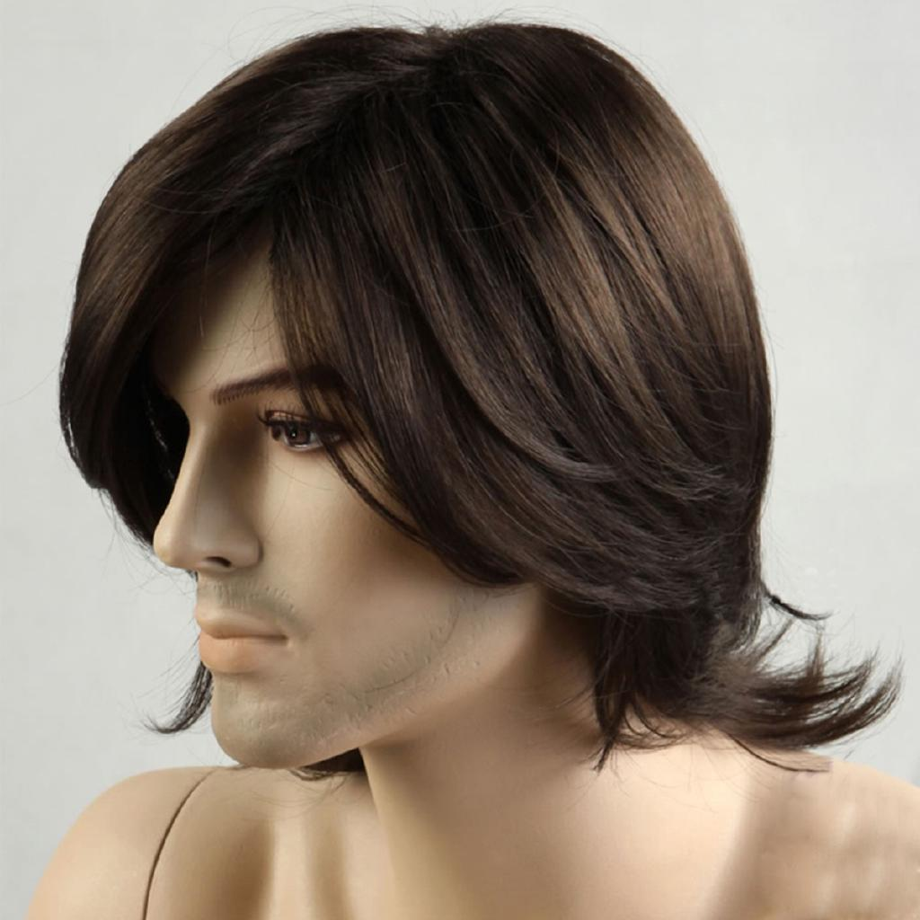 Men Short Brown 70s Retro Disco Cosplay Synthetic Hair Wigs