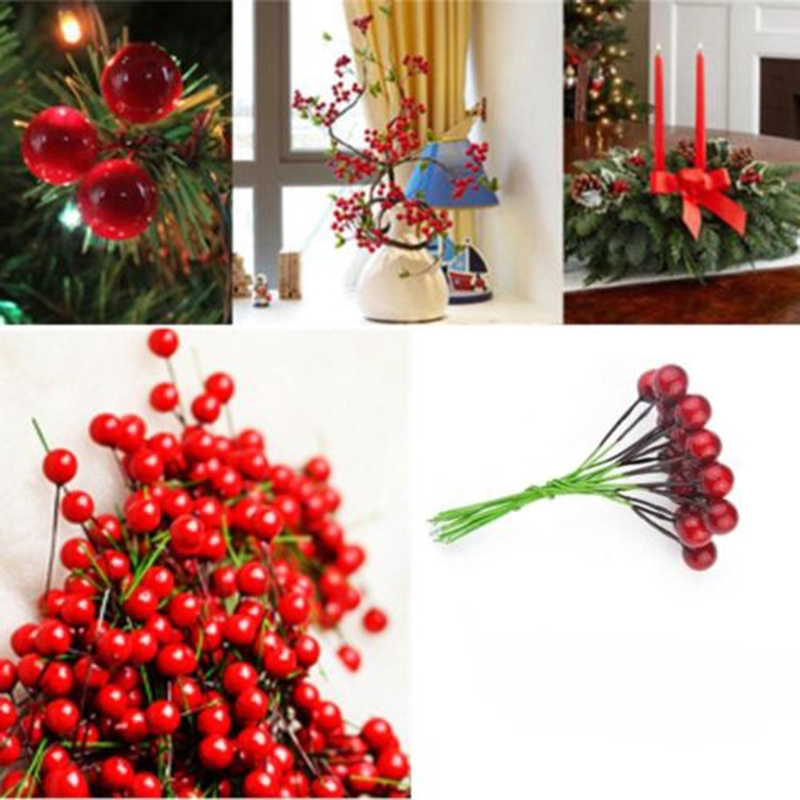 Christmas Tree Decor Artificial Flower Frosted Fruit Berry Home Decoration