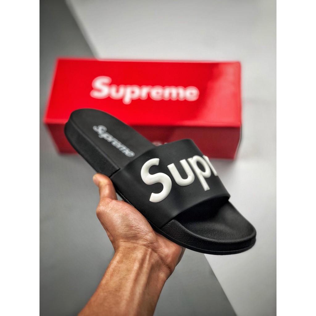 55256bb3661 Adidas Supreme suprize design street fashion brand beach slippers couple  models sandals black
