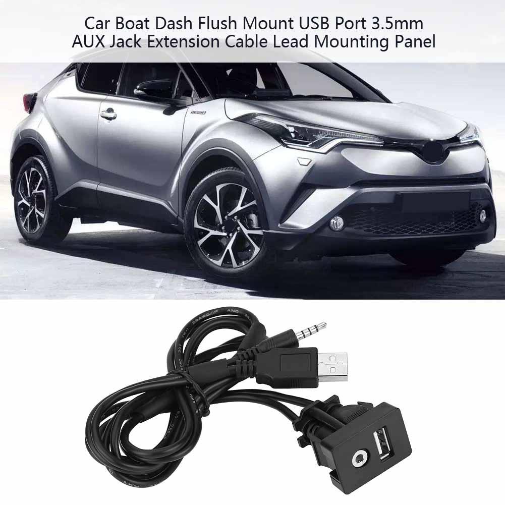 Car Mount USB Port 3 5mm AUX Jack Extension Cable Lead