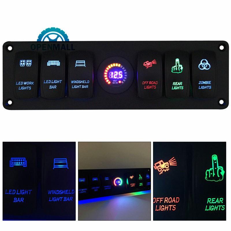 OM Car Rocker Switch Panel Breaker Circuit RV Gang LED With