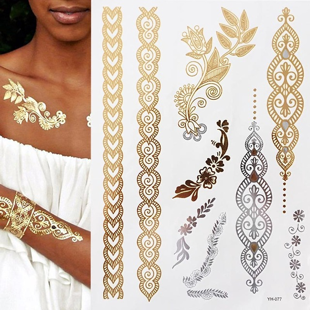 1pc Summer Style Men Women Body Art Gold Metallic Tattoo Sticker Chain Bracelet Fake Jewelry Waterproof Temporary Tattoo Shopee Singapore