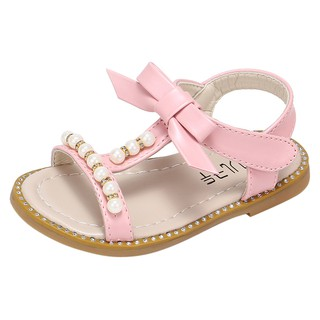 Child Kids Baby Girls Sandals Bowknot Pearl Roman Slip On Princess Beach Shoes