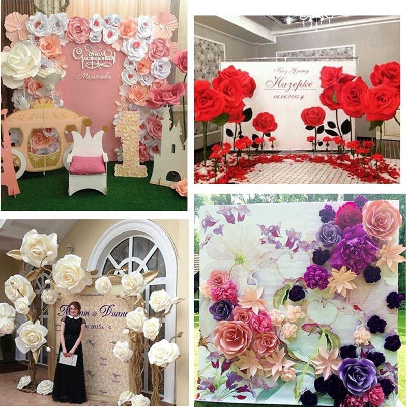 """40 pcs 16/"""" Lavender Artificial Large Roses Flowers Wall Backdrop Party Wedding"""