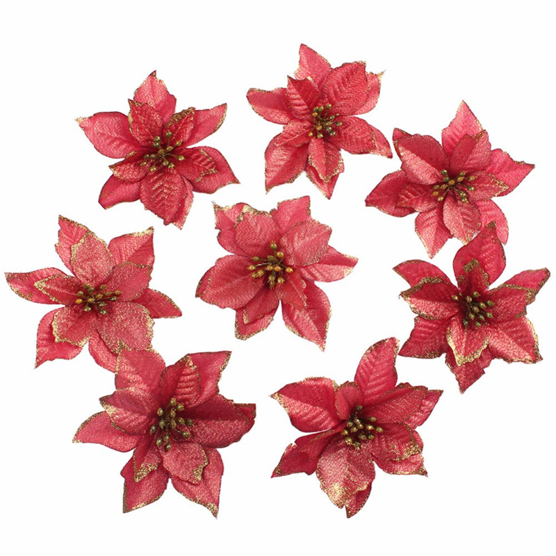 10 Pcs Glitter Poinsettia Flower Christmas Wreath Tree Decorations Xmas Gift Xmm Shopee Singapore