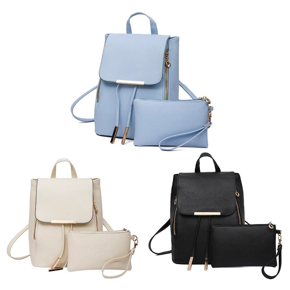 2017 2pcs Fashion Students Soft Pu Leather Backpack Casual