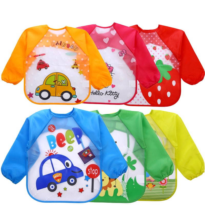 NATUCE Baby Bibs with Sleeves Toddler Waterproof Long Sleeve Bib Washable Feeding Bibs with Arms Baby Drool Bibs Anti-Dressing Playing Painting Apron Bibs for Infant 6 Months to 3 Years Old,Pack of 4