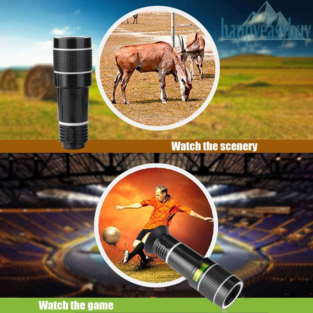 [Dom] New Universal 20X Zoom Telephoto Lens External Mobile Phone Camera  Lens with Clip for Viewing Travel