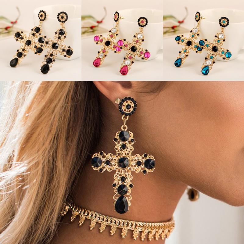 1 Pair Elegant Brown Crystal Rhinestone  Ear Drop Dangle Stud long Earrings 214