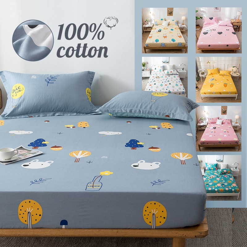 Cotton Fitted Sheet Cartoon Deer Bed, King Fitted Sheet On Queen Bed