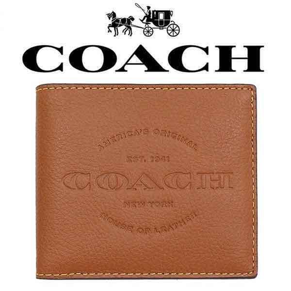 Coach Double Billfold Mens Leather Wallet Dark Brown #F24647
