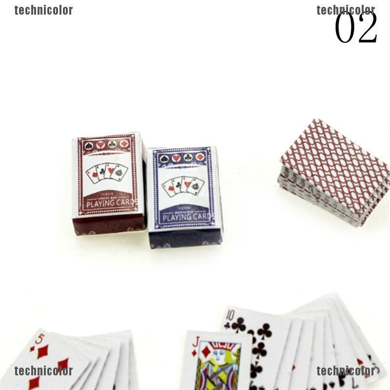 Miniature Playing Cards 1:12 scale  with Green Backs