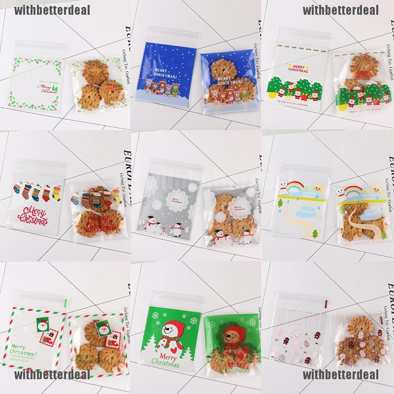Christmas Cellophane Bags.100x Christmas Cellophane Bag Party Favour Cookie Sweet Candy Gift Bags