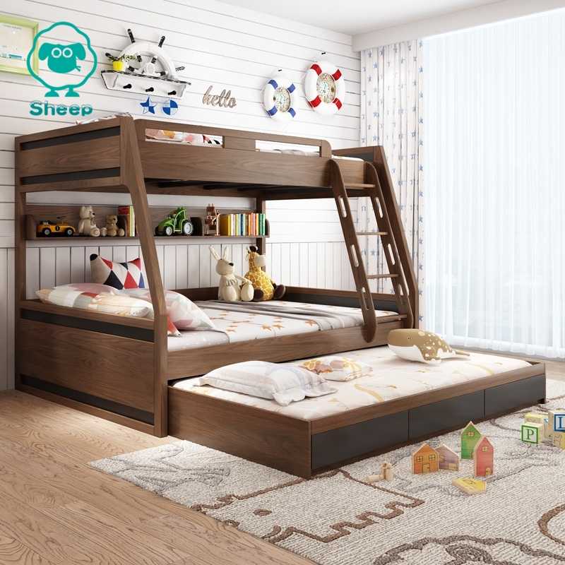 Sheep Children Bunk Bed Kids Double Bed Solid Wood Bunk Bed Frame Queen Triple Bed Super Large Bed With Storage Drawers Shopee Singapore