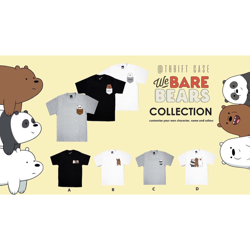 White Personalised Childrens Boys We Bare Bears T-Shirt