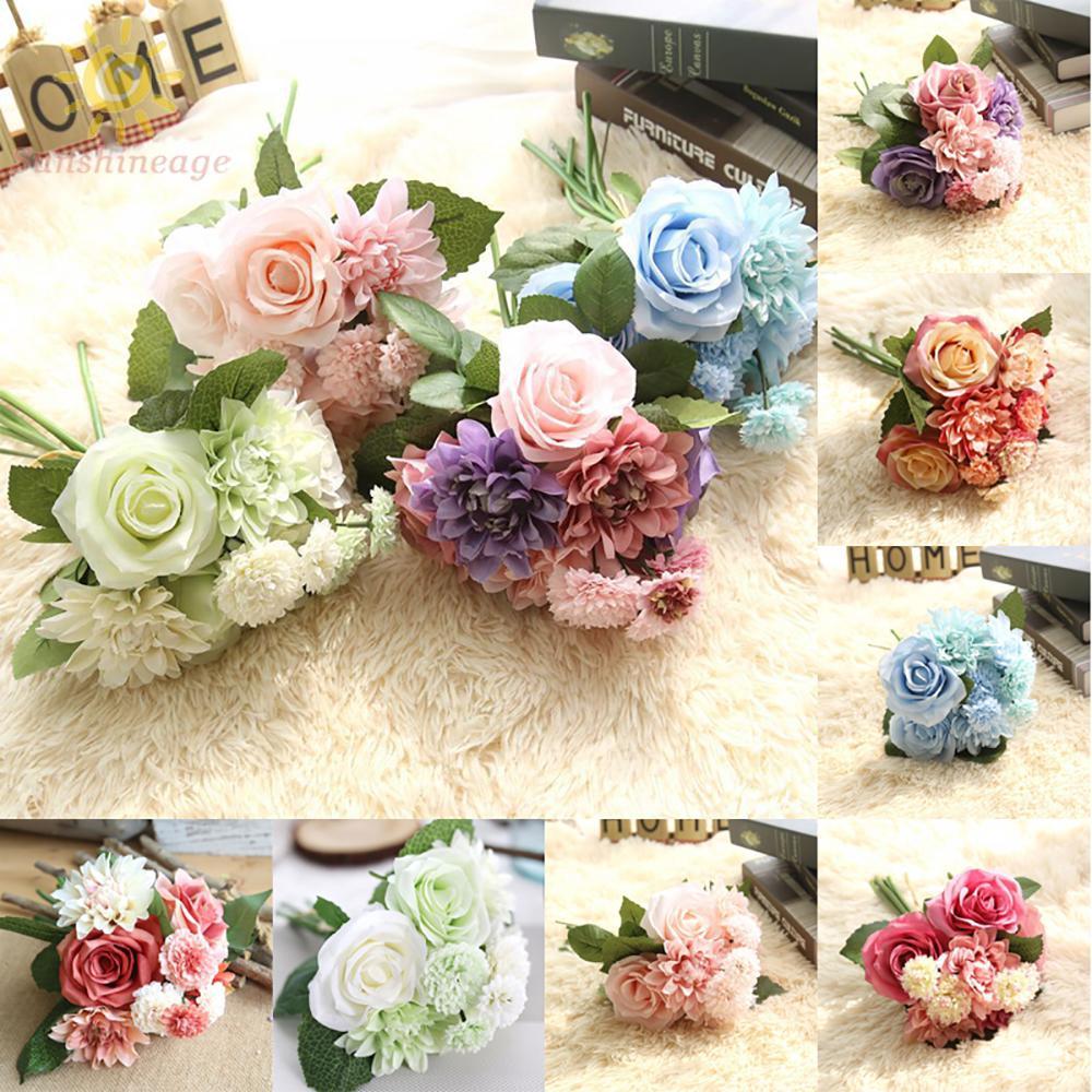 Artificial Flowers High Quality 1pcs Head Artificial Flowers Rose Silk Dahlia Rose Floral Bridal Wedding Bouquet Shopee Singapore