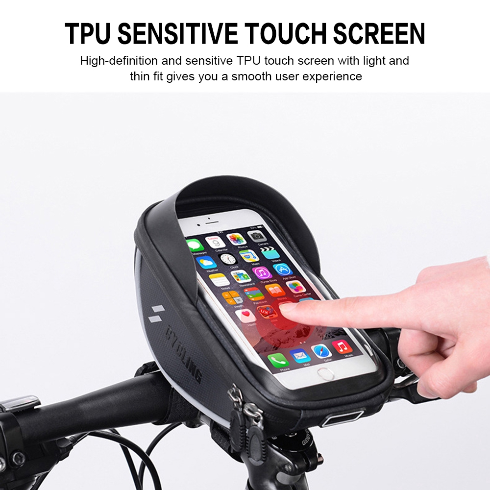 TPU Waterproof Bicycle Tube Storage Bag with Sensitive Touch Screen Headphone Hole Bike Phone Front Frame Bag Sun Visor Large Capacity Rear Bag Compatible with Cellphone under 6.5/'/'