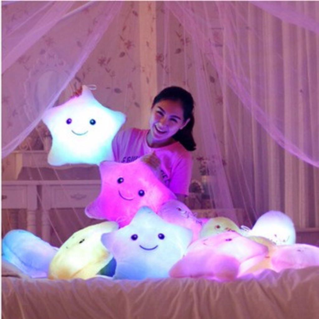 Luminous Star Glowing Led Light Plush Cushion Star Pillow Shopee Singapore