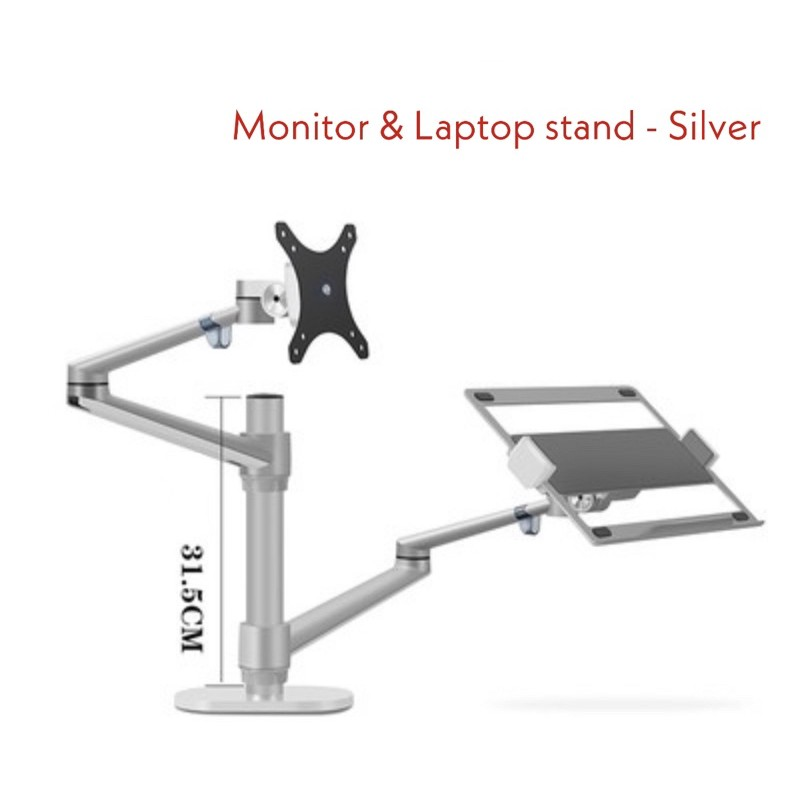 [SG Ready Stock] Monitor Desktop Dual Arm Aluminum Height Adjustable 17-32  inch Monitor +12-17 inch Laptop Holder | Shopee Singapore