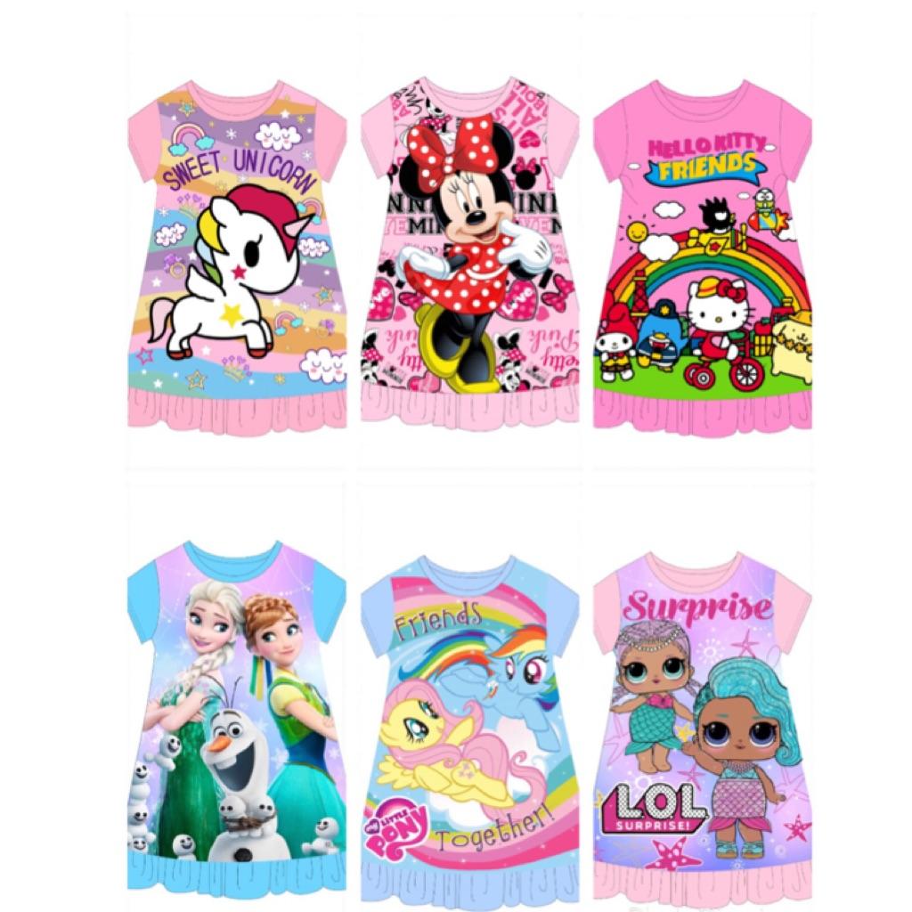 031d0575e Kid's Pyjamas dress LOL frozen pony Minnie Mouse hello kitty unicorn (6  designs)   Shopee Singapore