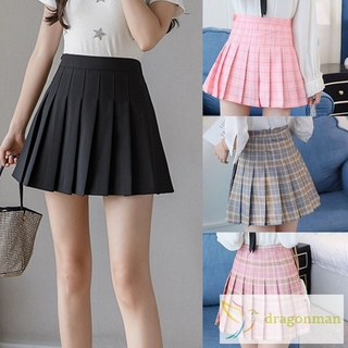 Girls Women High Waisted Plain Pleated Skirt with Underpants Skater Tennis School Uniforms A-line Mini Skirts