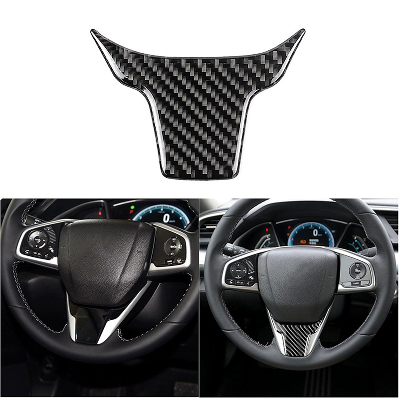 Steering Wheel Cover Stickers 2Pcs Carbon Fiber Steering Wheel Function Button Frame Steering Wheel Button Frame Cover Trim Sticker for Levante 2017-2018