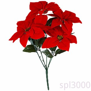 Spl Artificial Poinsettia Flower Home Office Fake Christmas Flower Party Event Floral Decoration Shopee Singapore