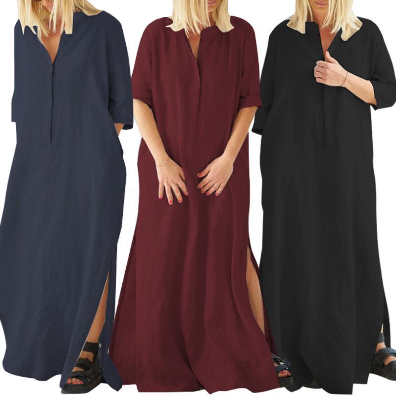 Ladies 3//4 Sleeve V Neck Peplum Skirt Knee Length Midi Women/'s Dress 8-24