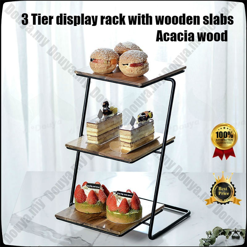 3 Tier Wooden Display Rack With Square Acacia Wood Slabs Three Tiered Cake Serving Tray Dessert Fruit Presentation Shopee Singapore
