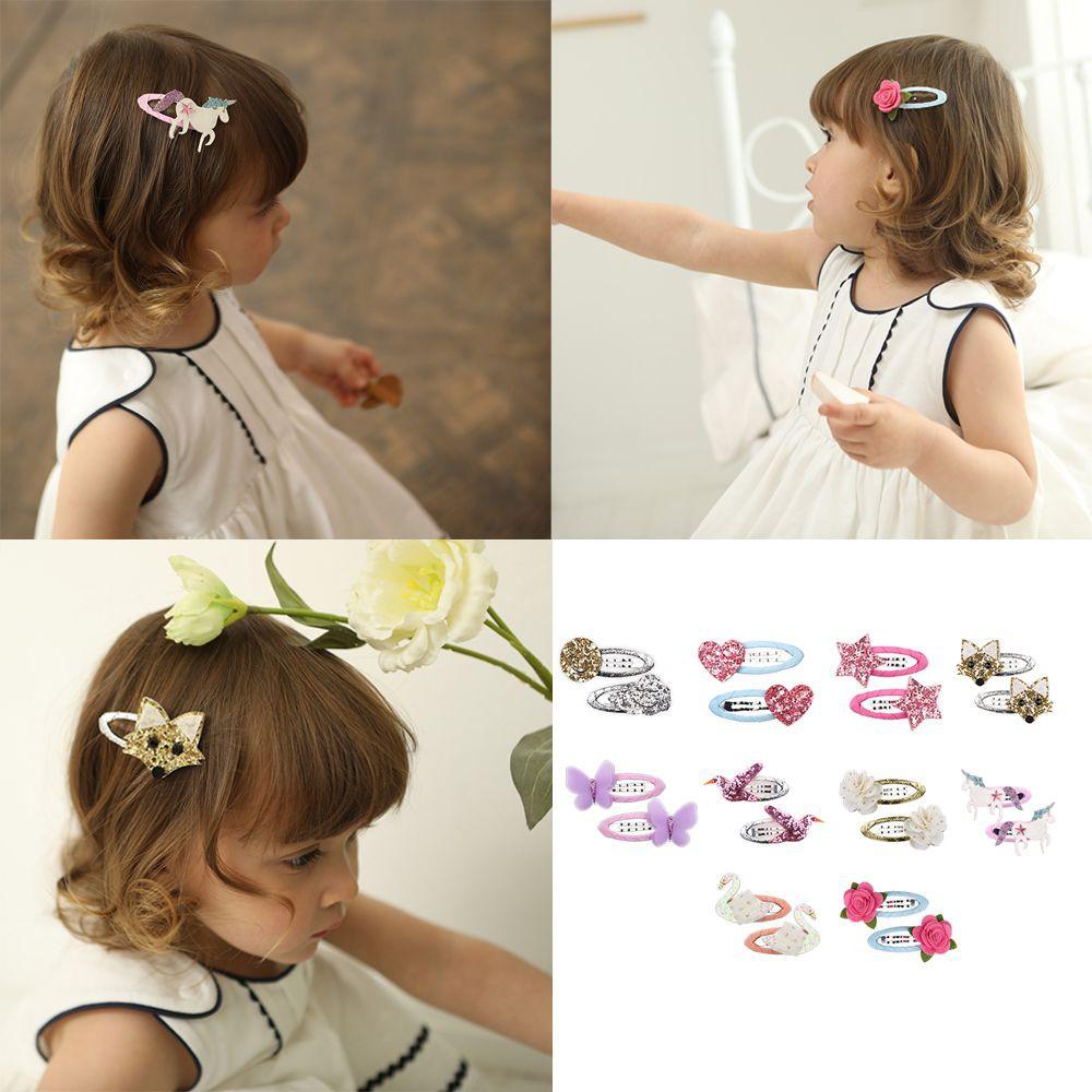 Girls Cartoon Bird Swan Hair Clip Baby Unicorn Hairpin Floral Headwear
