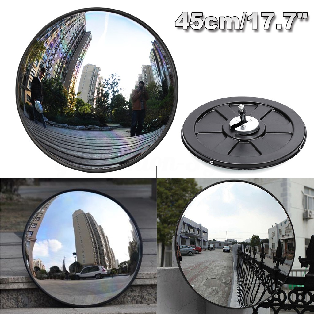 Convex Blind Spot Safety Mirror 45cm 130 degree Wide Angle Driveway Road Safety Convex Flexible Traffic Mirror with Mounting Hardware Accessories
